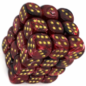 Burgundy & Gold Vortex 12mm D6 Dice Block